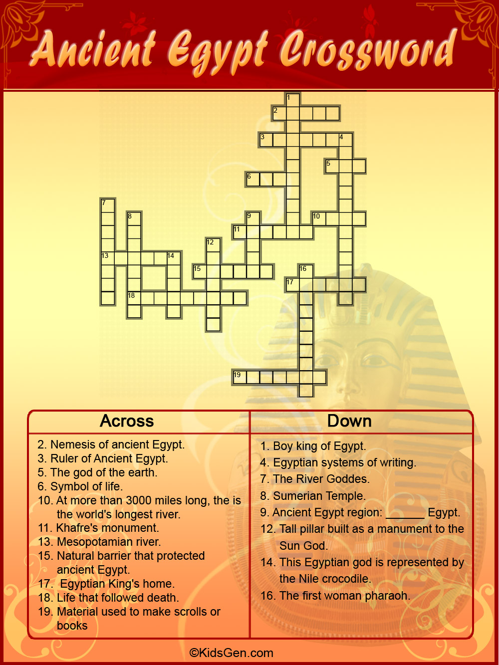 Ancient Egypt Colored Crossword Template