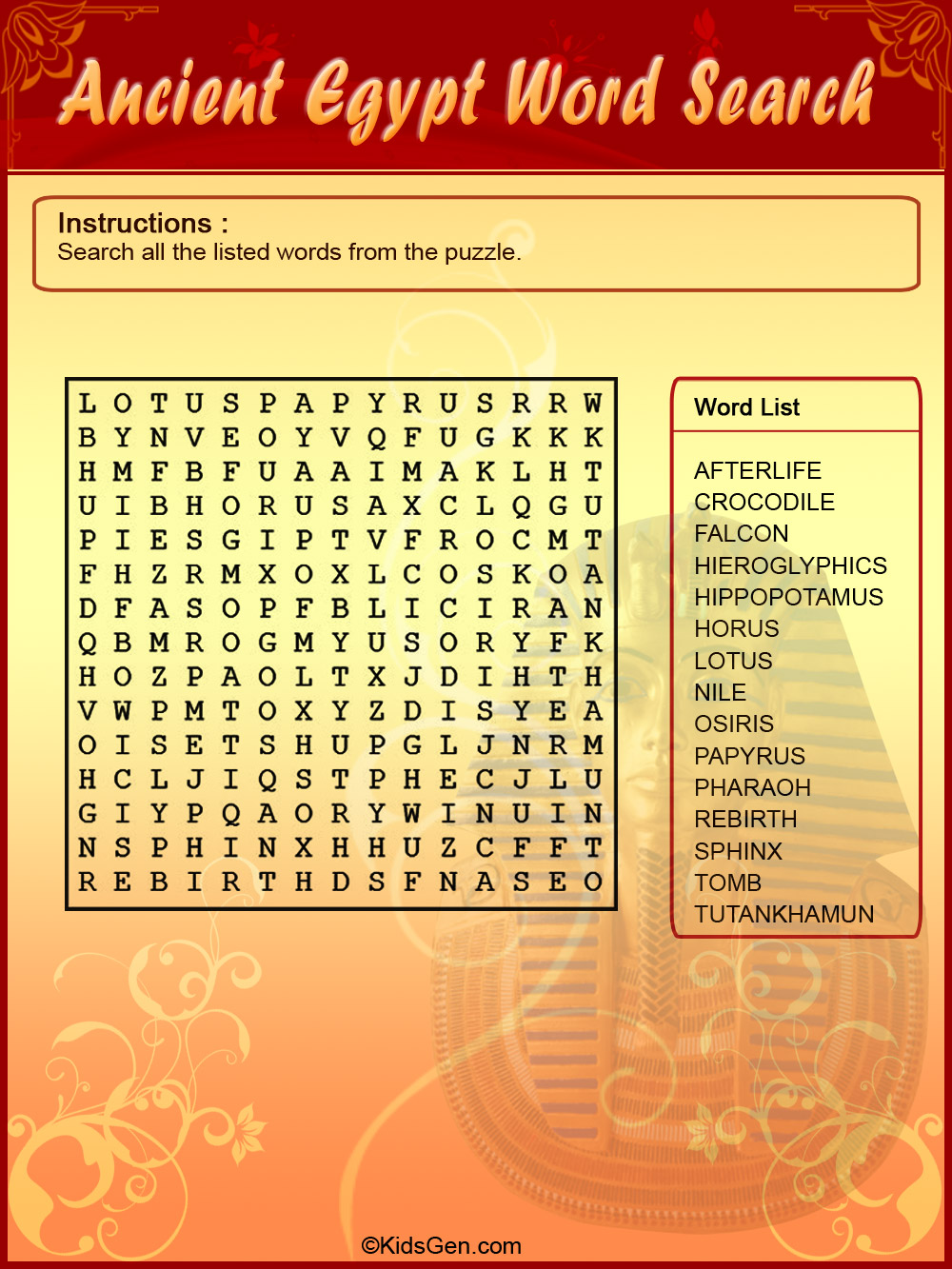 Ancient Egypt Colored Word Search puzzle template