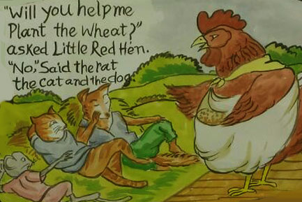 Little red hen asked for help to the rat, the cat and the dog