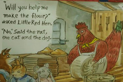 The hen asked for help to make flour
