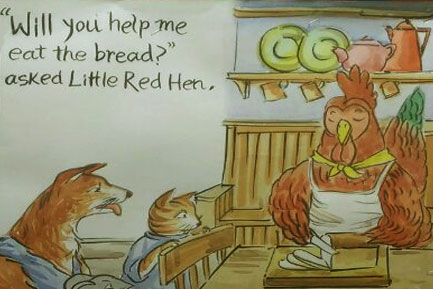 The hen asked for help to eat the bread