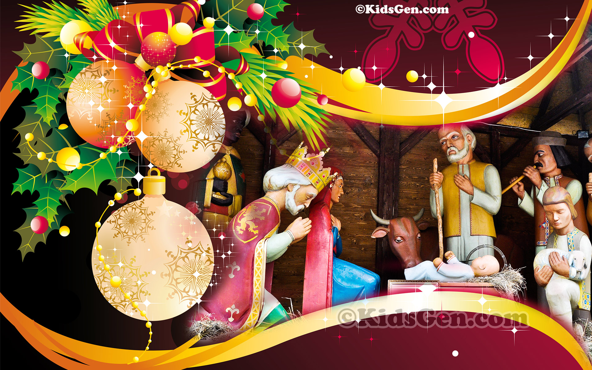 A Wonderful High Definition Wallpaper Of Christmas Decoration Featuring Birth Jesus Christ