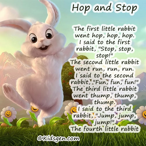 Easter Poem Of A Little Rabbit Named Hop And Stop