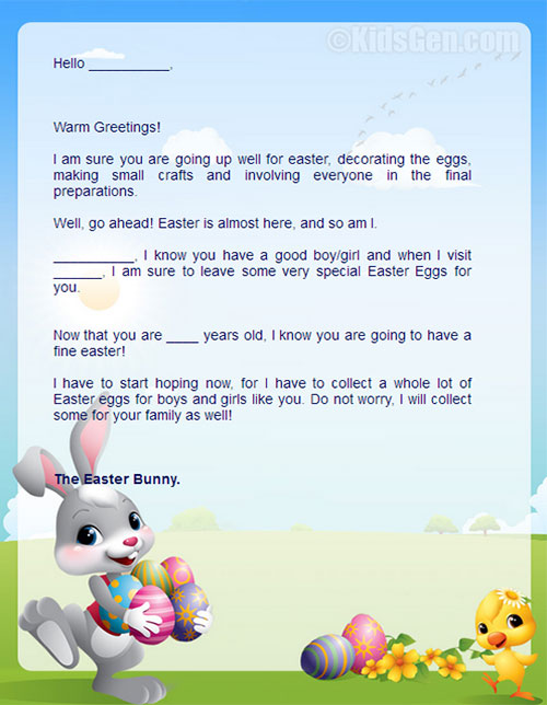 Personalized Easter Bunny Letters For Kids