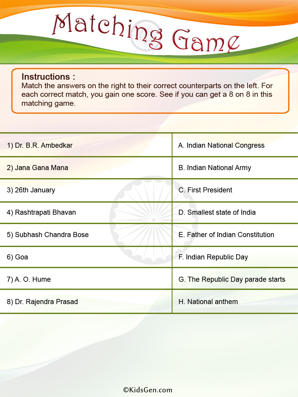 Matching Images >> Indian Republic Day Colored Matching Game template