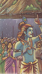Lord Krishna lifting gavardhana mountain on the little finger