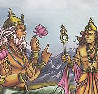 Indra consulting Lord Brahma