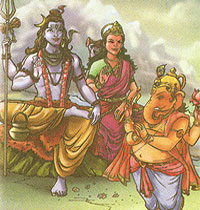 Shiva, Parvathi and Ganesh