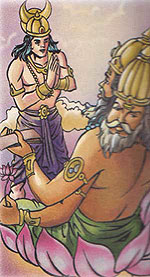 Moon god Chandra taking Lord Brahma's advice
