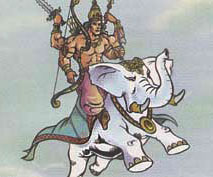 Lord Indra riding on white elephant Airawat