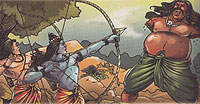 Lord Rama fights with demon Kbandha