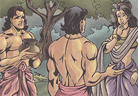 Lord Mercury brings water for Ajay's wife Malti