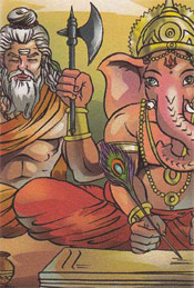 Mythological Story : Ganesha writes the Mahavarata