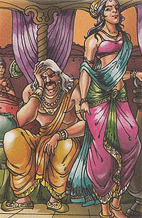 kaikayi reminding king Dasaratha to grant her two boon