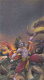 Lord Krishna teaching lesson to venomous Kalia