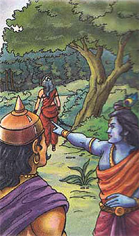 Lord Krishna and her devoutee Kalindi