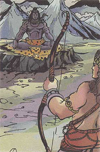 Kamadev breaking Shiva's meditation