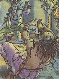 Krishna killing Kansa