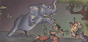Krishna and Balarama fighting with elephant Kuvalayapeeda