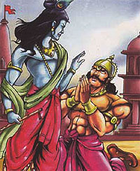 Lord Krishna and his devotee Akrura