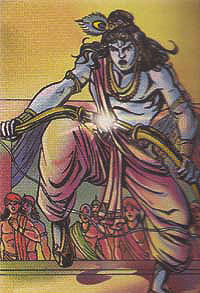 Krishna breaking enormous bow of Kansa