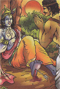 Krishna got hitted by hunter's poisonous arrow
