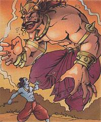 Krishna and demon Vyomyasura