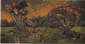 Lord Shiva fighting with deamon Tripura