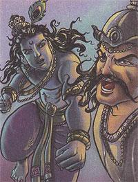 Krishna fighting with the demon Sankhasura