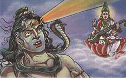 Lord Shiva opened his third eye from which came a great fire