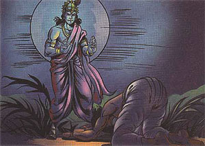 Krishna forgiving Akrura