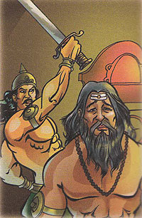 Dhrishtadyumnan killing Guru Drona