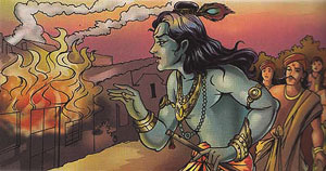 Krishna swalloing the forest fire