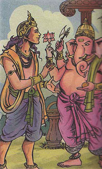 Lord Kartikeya and Lord Ganesha-Lord Kartikeya asking Lord Ganesha to help him in his marrige