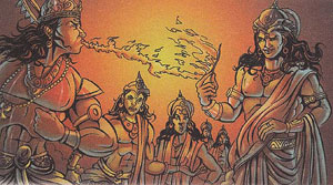 Yaksha teaching lessons to the proud gods-lord agani Deva-lord vayu deva-lord indra deva