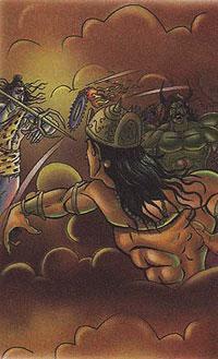 Krishna fighting with demon Banasura