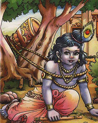 Krishna was tied to a mortar by Yashoda