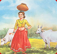 The milk-maid with pail of milk
