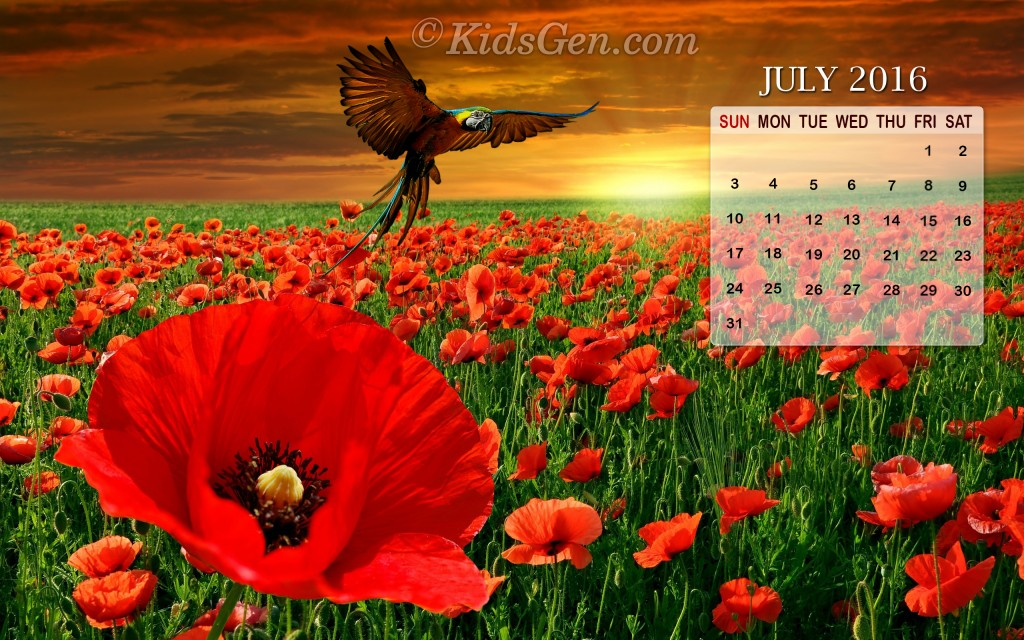 July Calendar Wallpaper 2016