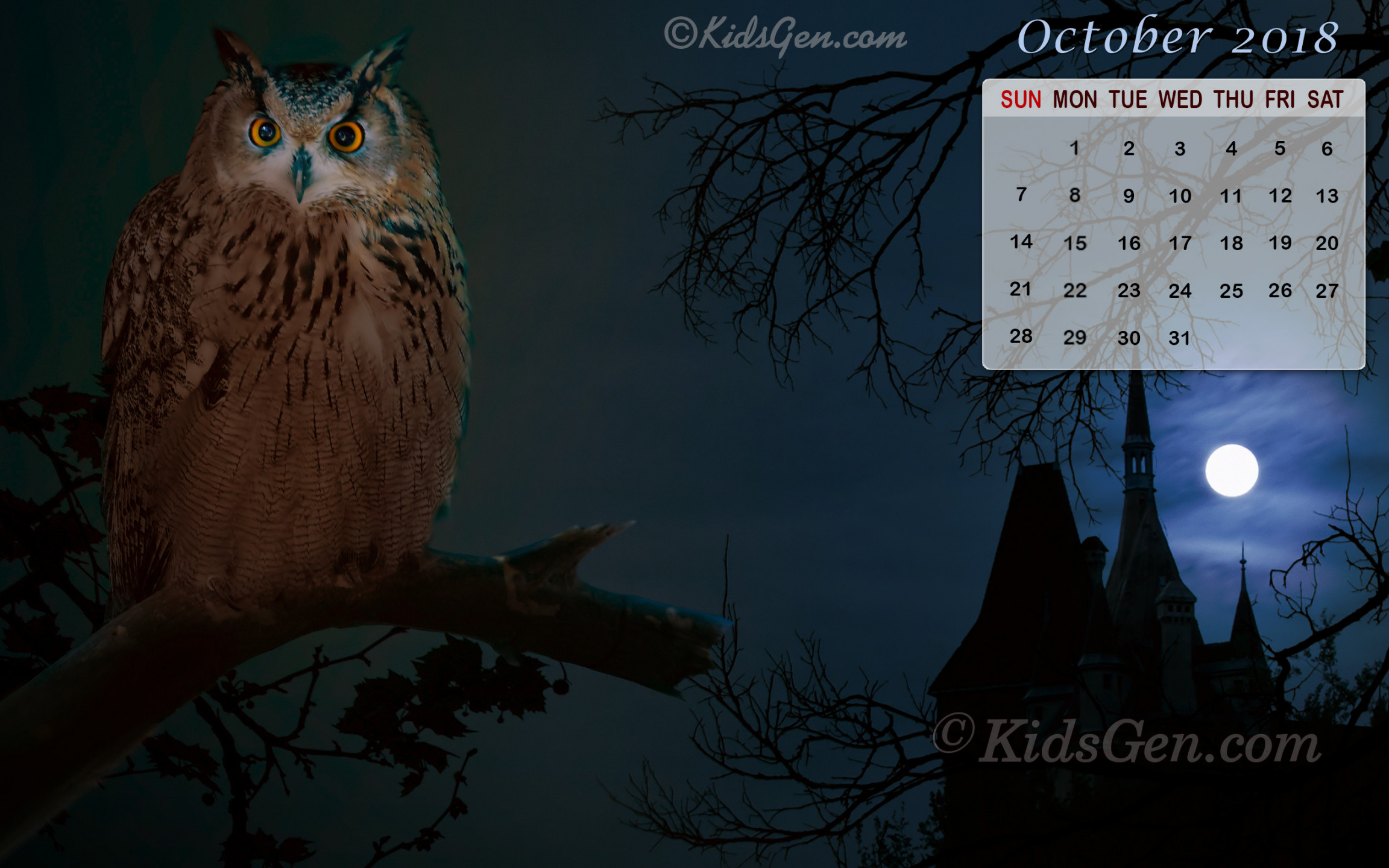 October 2018 Calendar Wallpaper · Download Or right-click the image to save or set as desktop background.