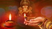 Lord Ganesha and Diwali Diyas
